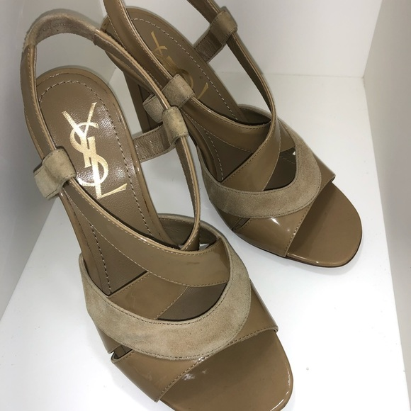 4f3f273a5fe Yves Saint Laurent Shoes | Ysl Patent Leather And Suede Criss Cross ...